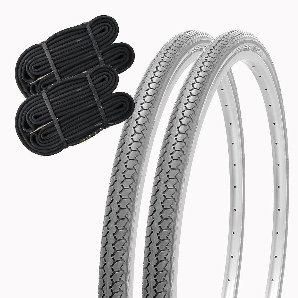 陰謀暖かく招待SHINKO(シンコー) 車椅子 タイヤ 22インチ チューブ セット ペア 床のタイヤ跡がわかりにくい! 22×1 3/8 WO SR078 DEMING LL SHINKO (グレー)