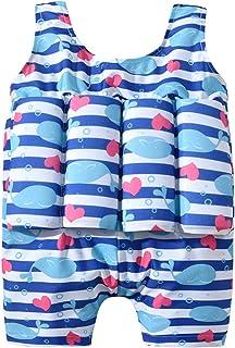 CLISPEED Girl Boy One Piece Floatation Swimsuit Cute Whale Pattern Swimwear Girl Boy One Piece Floatation Swimsuit Swimwea...