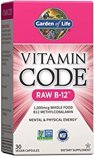 Garden of Life B12 - Vitamin Code Raw B-12 - 30 Capsules, 1,000mcg Whole Food B12 Methylcobalamin for Energy, Vegan Methyl...