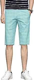chouyatou Men's Summer Mid-Rise Flat Front Check Plaid Cotton Linen Bermuda Short