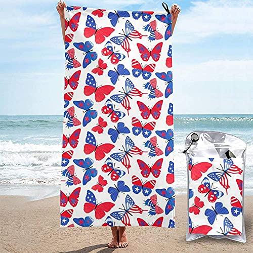 Toalla de Microfibra de Secado rápido, Mariposas patrióticas Toallas de baño Ultra Suaves para Acampar, Nadar, Playa, baño, 31.5 'x63
