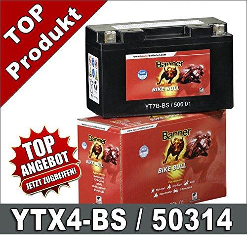 Motorrad Batterie 4Ah YTX4L-BS YB4L-B 50314 AGM Roller Batterie Banner