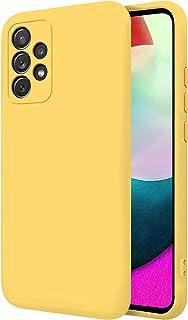 "TBOC Hoesje Compatibel met Samsung Galaxy A52 5G - A52 [6.5""]-Harde Hoesje [Geel] Premium Vloeistof Siliconen[Zachte aanra..."