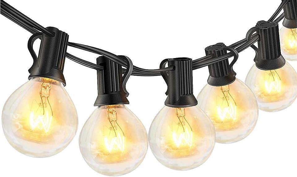 Lichterkette Außen Glühbirnen, 8M Lichterkette Glühbirnen mit 30 Birnen für Sommerabend, IP44 wasserdichte G40 Lichterketten Innen/Aussen als Deko für Garten Balkon Party, Warmweiß