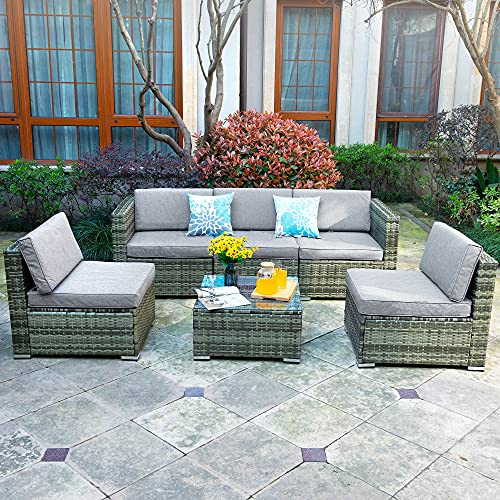 YITAHOME 6 Pieces Patio Furniture Set, Outdoor Conversation Set, Outside Sectional Sofa PE Rattan Wicker Set with Table and Cushion for Porch Lawn Garden and Poolside, Gray Gradient