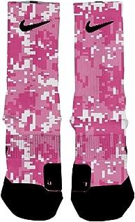 HoopSwagg Breast Cancer Digital Camo Custom Elite Socks