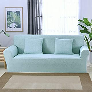 ChezMax Modern Loveseat Slipcover Couch Cover Stretch Polyester Spandex Fabric Sofa Cover 1 Piece Aqua Blue 57.1