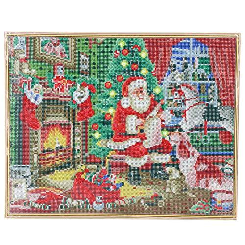 Zerodis Kits de Pintura de Diamantes 5D, luz LED Pintura de Diamantes de Navidad Manualidades de Punto de Cruz Taladro Completo Pintura de Bordado de Diamantes con Marco para decoración de Pared