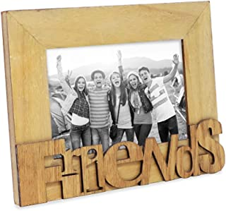 """Isaac Jacobs Natural Wood Sentiments """"Friends"""" Picture Frame, 4x6 inch, Photo Gift for Friend, Display on Tabletop, Desk (Natural)"""