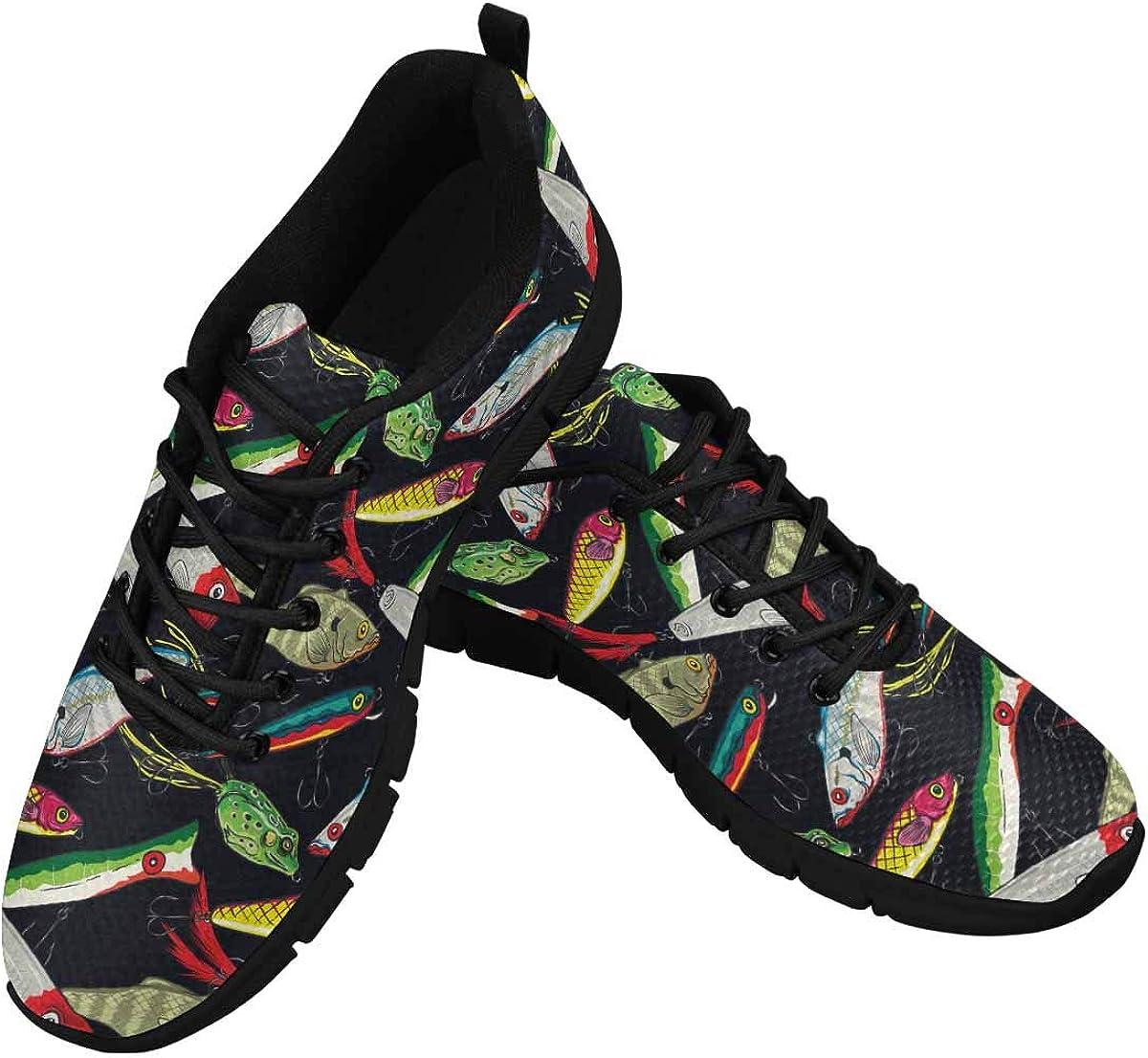 INTERESTPRINT Fishing Bait Print Women's Walking Shoes Lightweight Casual Running Sneakers