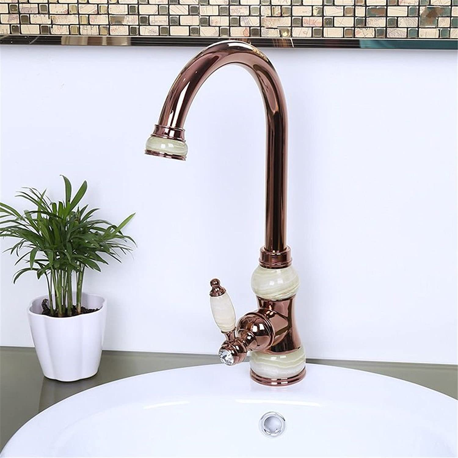 AQMMi Basin Sink Mixer Tap for Lavatory Antique Hot and Cold Water Valve Brass 360°Swivel gold Single Lever Bathroom Vanity Sink Faucet