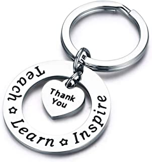 LALANG Hollow Circle Heart Pendant Keychain Charm Letters Thanksgiving Teacher'S Day Gift