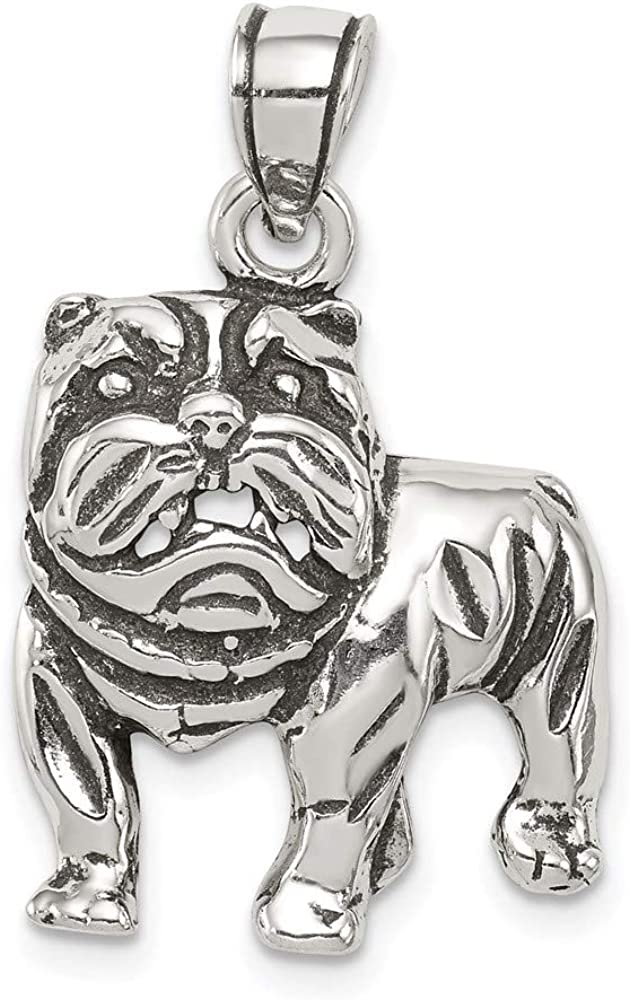 Ryan Jonathan Fine Max 54% OFF Jewelry Sterling Antiqued Silver Bulldog Pend Inventory cleanup selling sale