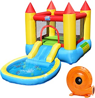 Costzon Inflatable Bounce House, Castle Jumping Bouncer with Water Slide, Splashing Water Pool, Including Oxford Carry Bag, Repairing Kit, Stakes, Water Hose, Ocean Balls, 580W Air Blower