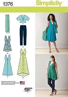 Simplicity Pattern 1376 Women's Plus Size Jacket, Dress, Tunic, Scarf and Knit Leggings Sizes 20W - 28W