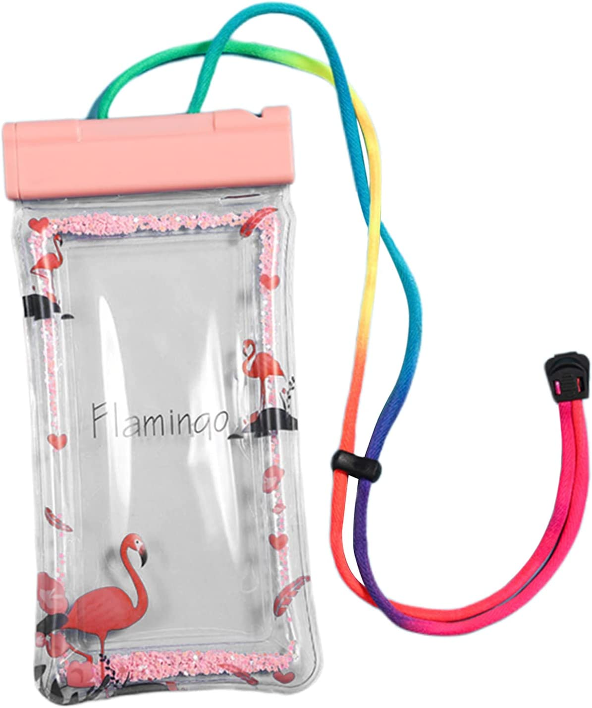 Homyl Waterproof Phone Case,Universal Large Water Resistant Underwater Cell Phone Holder Pouch Dry Bag with Emergency Whistle for Swimming Beach Surfing - Flamingo Whistle