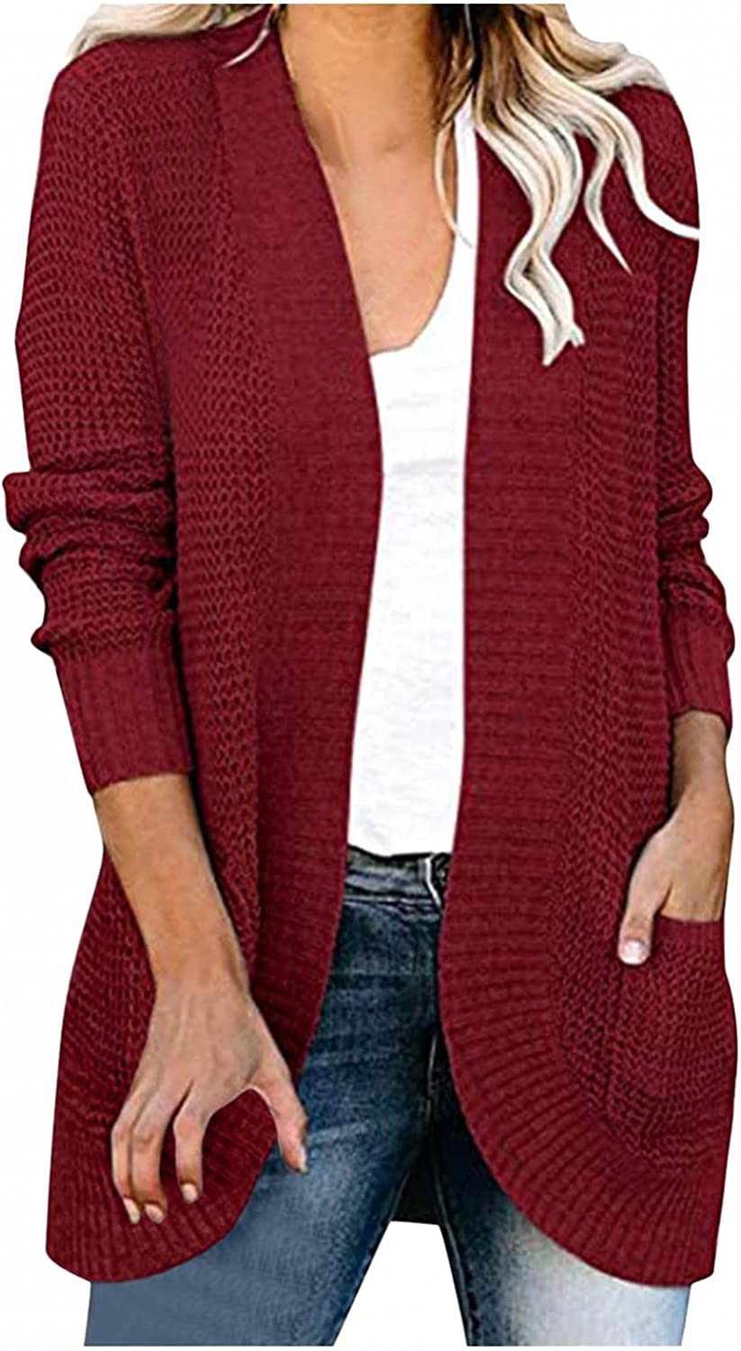 Masbird Sweaters for Women Casual Long Sleeve Cardigan Open Front Button Loose Knitted Oversized Sweater Coat Blouse