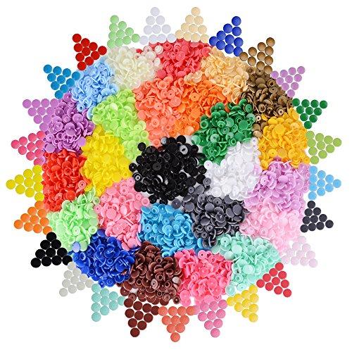 AONER 500 Set T5 Druckknöpfe (25 Farben) Nähfrei Druckknopf Buttons Snaps für Kleine Täschchen, Kissenbezüge, Kleidung, Regenschirm, Mantel usw. (ohne Snapzange)