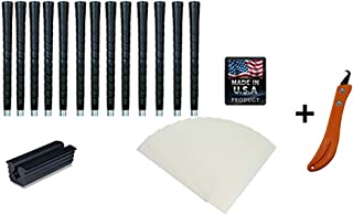 Tacki-Mac Golf Grips Standard Size Black Pro Tour Wrap Grip Kit + Utility Hook Blade (13 Grips, Grip Tape, clamp, Grip Removal Hook Blade, Instructions)