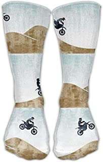 Motocross Dirt Bike Crew Calcetines Compression Calcetines Warm Winter Calcetines One Size for Women(30cm)