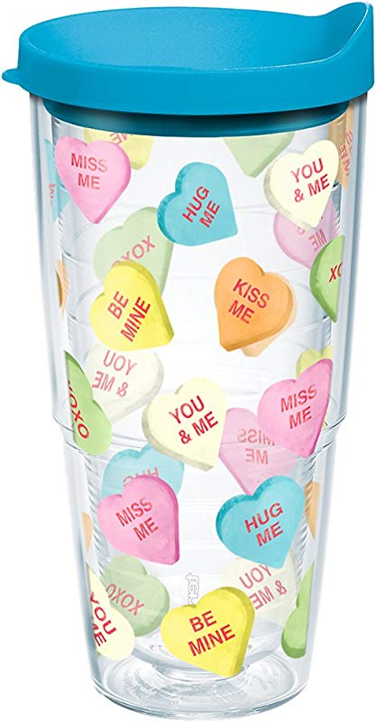 Tervis 1204569 Candy Hearts Tumbler With Wrap And Turquoise Lid 24oz Clear
