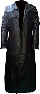 Frank Castle The Punisher Black Leather Trench Coat Jacket   Long Trench Costume Coat