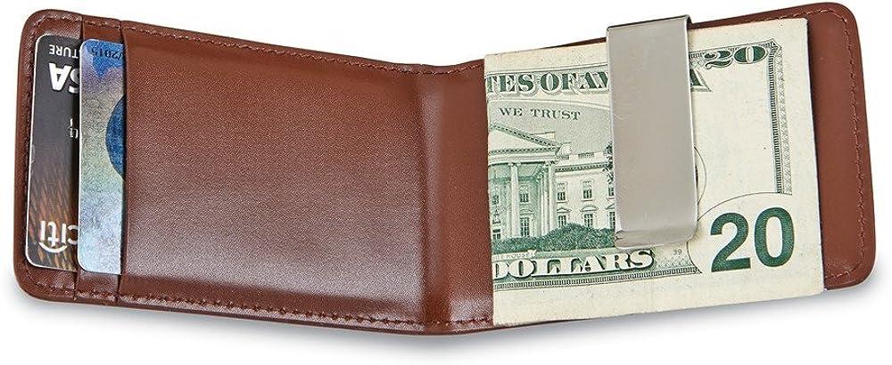 Solid Brown Leather Folding Card Case Slim Business Credit Card Holder Money Clip