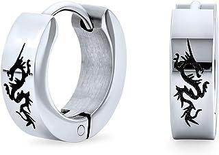 Asiatico stile drago nero Huggie Hoop Kpo donne laser inciso nero tono d'argento placcato acciaio inox placcato