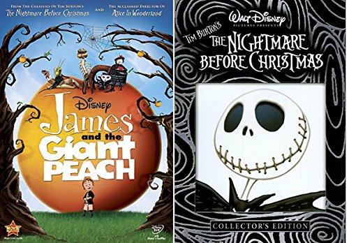 The Nightmare Before Christmas DVD & James and the Giant Peach Tim Burton Disney Animated Movie Set Bundle