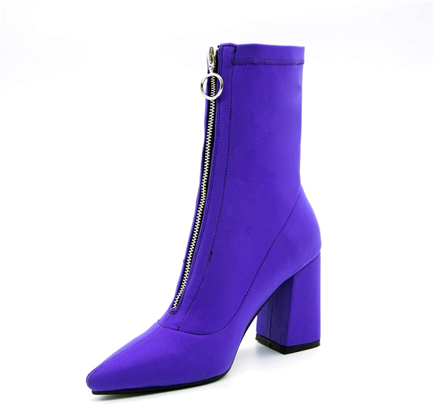 Susan1999 Lycra Women Boots Pointed Toe Square Heel shoes Woman Fashion Bota Feminina Ankle Boots