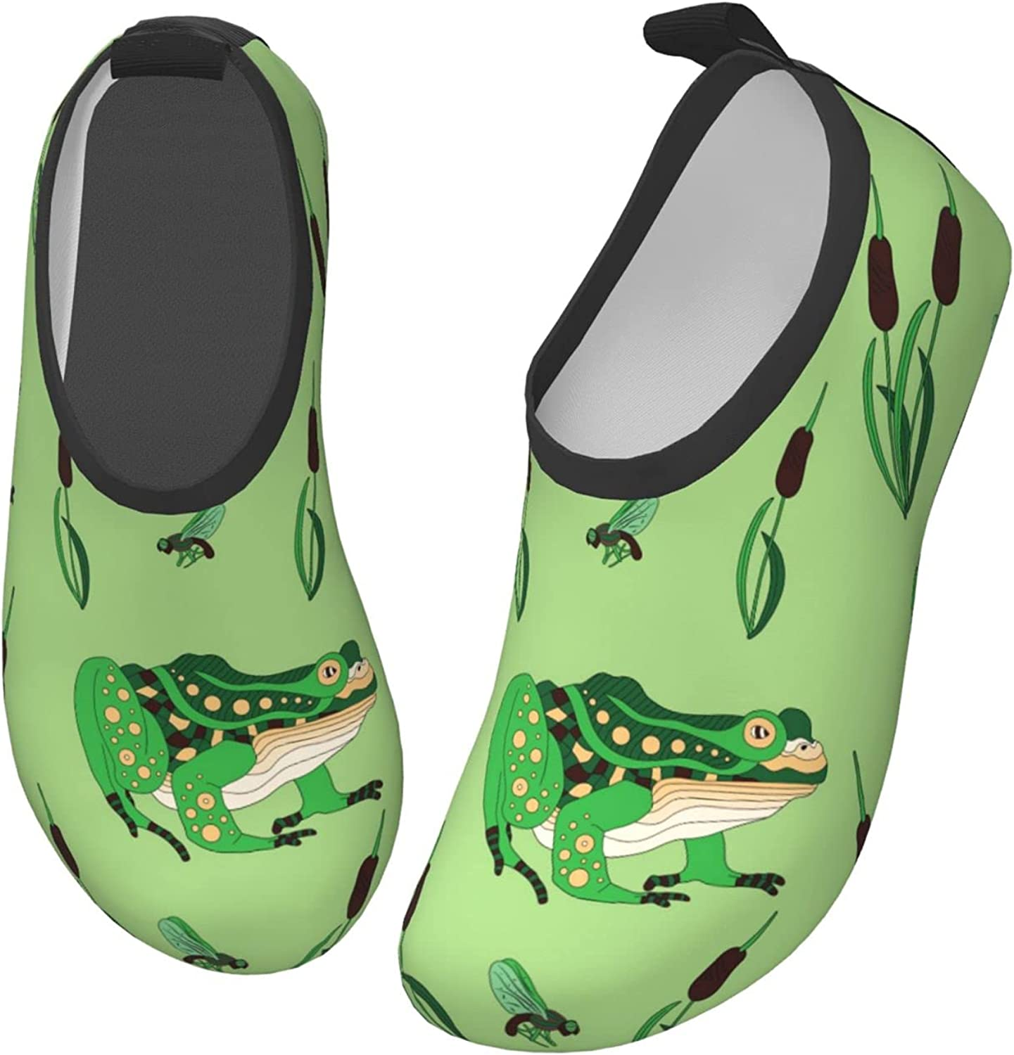 Cute Frog with Green Toddler Water Shoes Non-Slip Aqua Sports Shoes Barefoot Swim Shoes Beach Surf for Boys Girls