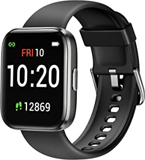 Letsfit Smart Watch for Android Phones Compatible with iPhone Samsung, Fitness Tracker with Blood Oxygen Saturation & Heart Rate Monitor, IP68 Waterproof Cardio Watch for Women Men, Black
