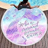 Bonsai Tree Mermaid Round Beach Towel, Mermaid Tail Beach Blanket Oversized, Meditation Mat with Tassels, Beach Decor Gifts for Women 59'