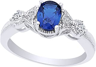 Oval Cut Simulated Blue Sapphire & Cubic Zirconia Fashion Ring in 14k Gold Over Sterling Silver