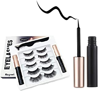 Magnetic Eyelashes with Eyeliner,Magnetic Eyeliner and Eyelashes Kit,2 Tubes Of Magnetic Eyeliner & 5 Pairs Of Reusable Fa...