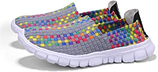 AUCDK Unisex Slip On Loafers Braided Breathable Casual Flats Lightweight Parent Kids Trainers Sport Water Shoes