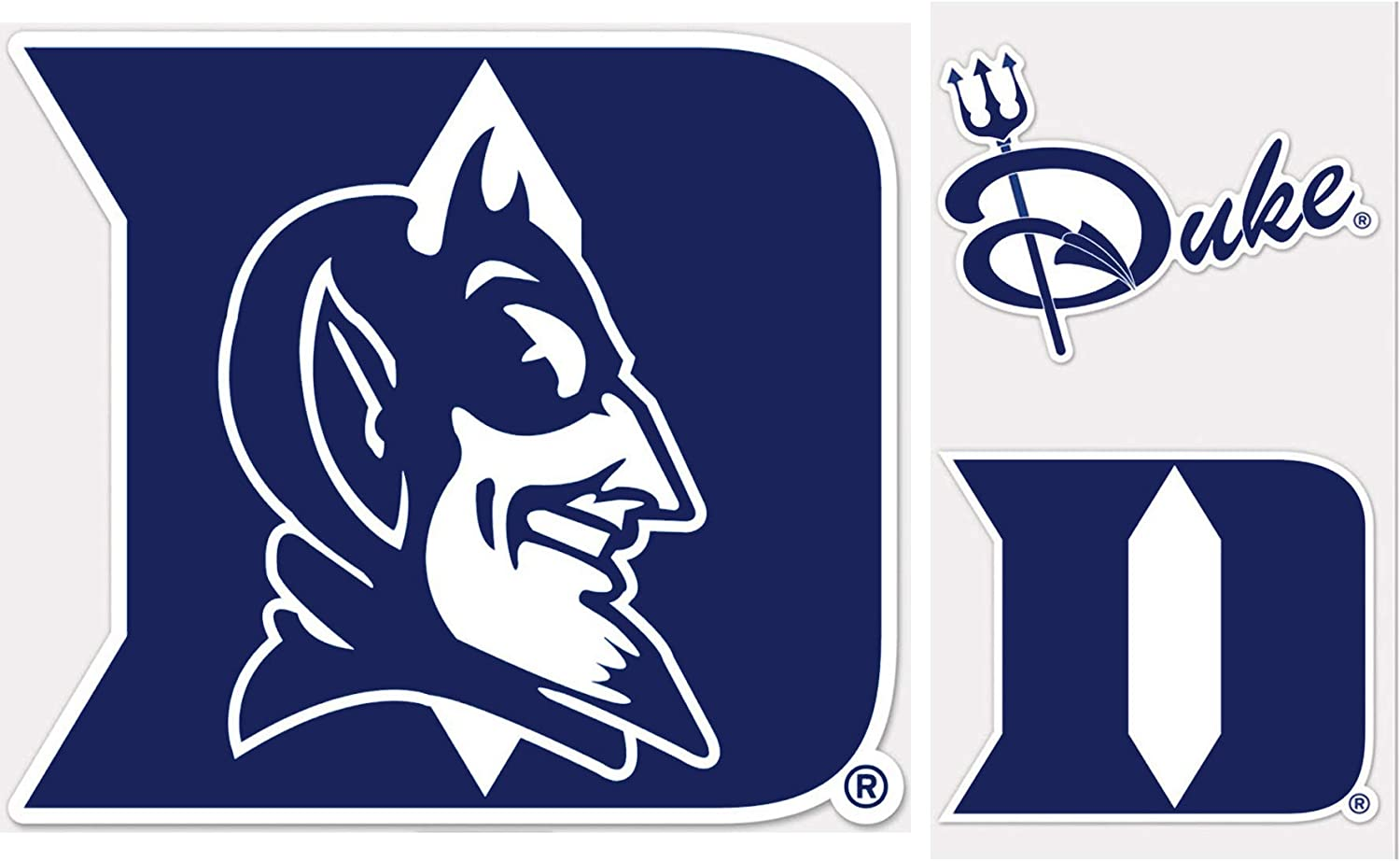 Wincraft Duke blueee Devils Outdoor Decal Gift Set 1 Med Sized Decal 7.5 x6.5  and 2 Small Decals