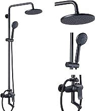 Matte Black Shower Fixture 3 Function Brass Bathroom Shower Faucet Combo Set 9 Inch Round Rainfall Showerhead with Handhel...