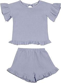 Longfei Conjunto de camisetas de manga corta para bebé niña de verano de algodón y lino
