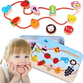 CenYouful Lacing Toy Wooden Block Set, Early Educational Toys String & Lacing Beads Games for Toddlers Kids Terrestrial An...