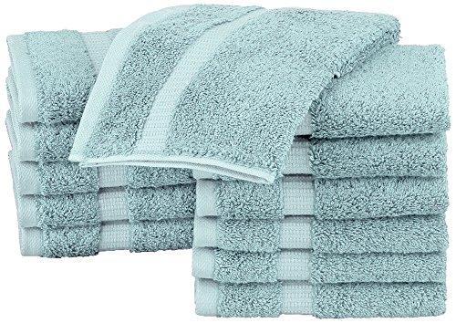 Pinzon Waschlappen aus Biobaumwoll-Mischgewebe, 12er-Pack, Spa Blau