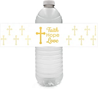 Baptism, Christening, First Communion Party Favor Decorations - Gold Cross Water Bottle Labels - 24 Stickers