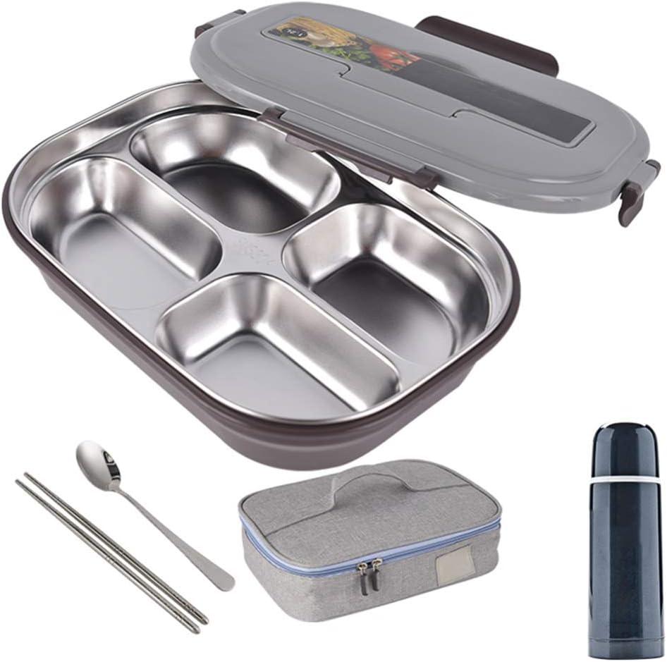 Pixier Fambrera Infantil, Lunch Box, con 3 Compartimentos Fiambrera, Bento Box Sostenible, para Microondas y Lavavajillas. (4 Compartimentos) gris / 4 grids