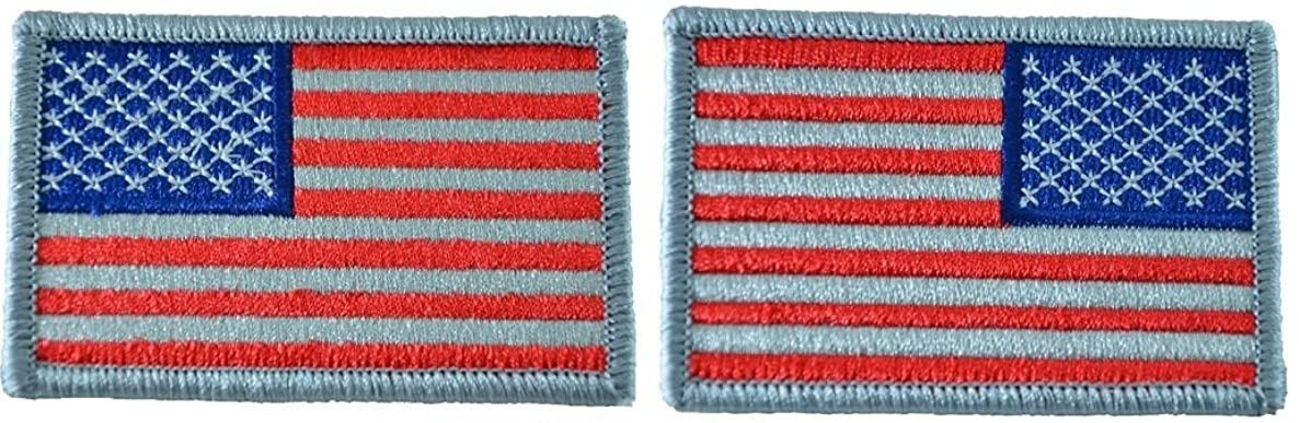 Tactical USA Flag Patch and Reverse USA Flag Patch - Subdued Silver 2