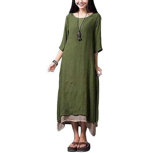 230edc71d1cdad Romacci Women Vintage Dress Split Irregular Hem Casual Loose Boho Long Maxi  Dresses Orange Army