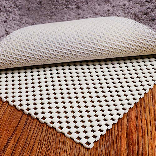 Puroma Non-Slip Area Rug Pad, 8 x 10 Ft Extra Thick Rug Gripper Protective Cushioning Pad for Hardwood Floors, White