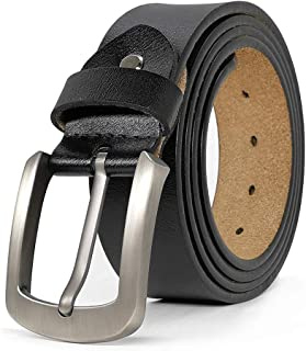 """JingHao Casual Belts for Men Genuine Leather Belt for Jeans Dress Black Brown Big and Tall Size 28""""-63"""""""