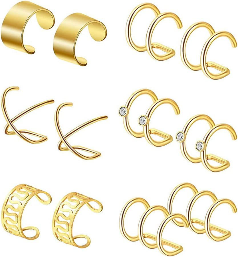 Weiy Ear Cuff Set Helix Cartilage Clip on Earrings Non Piercing Cartilage Earrings for Women Girls Supplies