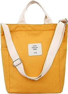 WANYIG Casual Handtasche Damen Chic Schultertasche Canvas Henkeltasche Schulrucksack Groß Umhängetasche Tasche Crossbody B...