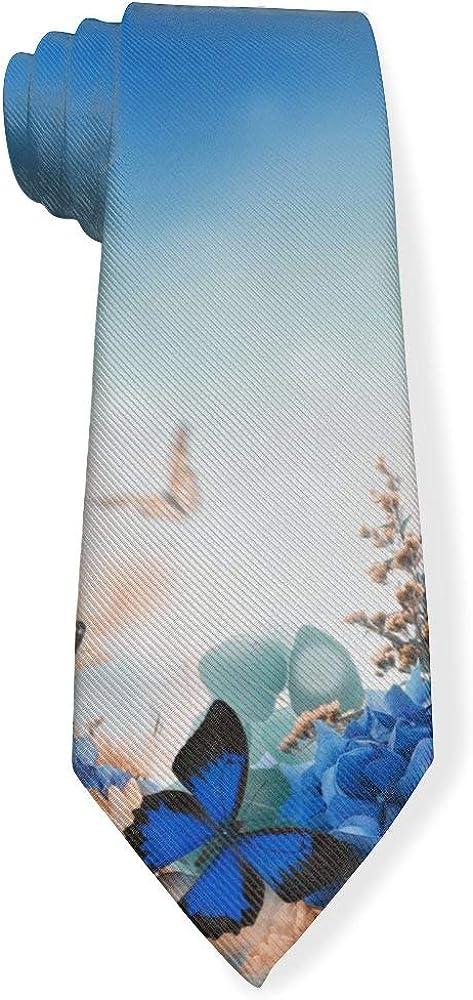 Amazing Butterfly Spring Nature Green Blue Flowers Mens Classic Color Slim Tie, Men's Neckties, Fashion Boys Cravats